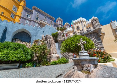 Palacio da Pena - Sintra, Lisboa, Portugal, Europe. Most beautiful castles of Europe - Pena palace in summer.