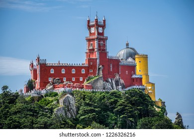 Palacio da Pena in Sintra, Portugal. Eclectic royal palace castle with red color and yellow colors.