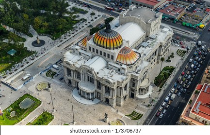 Palacio de Bellas Artes (Spanish for Palace of Fine Arts). Mexico City's main opera and theatre house as seen from above. An extravagant marble neoclassical structure inaugurated in 1934.