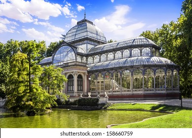 Palacio de Cristal in the Parque del Retiro, Madrid, Spain