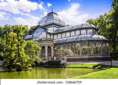 Palacio de Cristal in the Parque del Retiro, Madrid, Spain