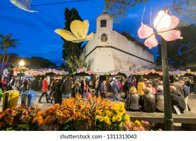 the palacio de Sao Lourenco at the avenida Arriaga at the Festa da Flor or Spring Flower Festival in the city of Funchal on the Island of Madeira of Portugal.  Madeira, Funchal, April, 2018