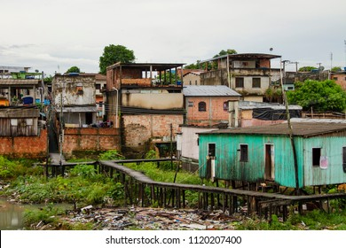 Palafitas popular houses in one of the poorest regions of the city. Manaus, Amazonas / Brazil