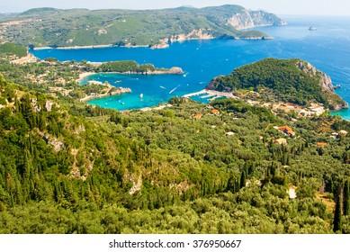Palaiokastritsa harbour during the midday on the island of Corfu, Greece.