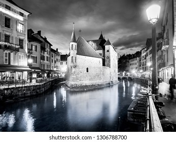 "The ""Palais de l'Ile"" in Annecy, a historical building placed in a small island on the river Thiou, which runs inside Annecy. The building was a prison in the past, now it's a museum people can visit"