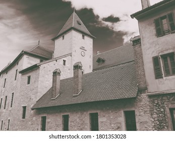 """The Palais de l'Ile on the Annecy old town, France. The Palace, often described as a """"house in the shape of a ship"""" has been a prison, a courthouse and an administrative centre."""