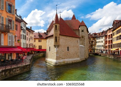 The Palais de l'Isle and Thiou river in the morning in old city of Annecy, Venice of the Alps, France