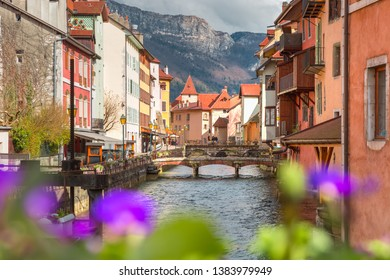 The Palais de l'Isle and Thiou river in old city of Annecy, Venice of the Alps, France