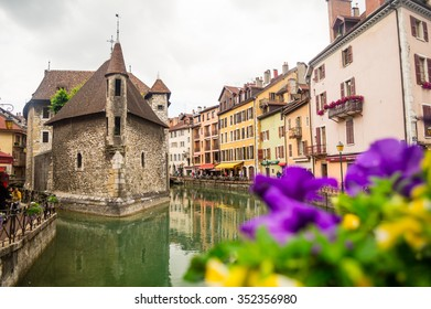 The Palais de l'Isle and Thiou river in Annecy, France