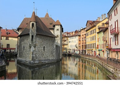 The Palais de l'Isle and Thiou river in Annecy, France.