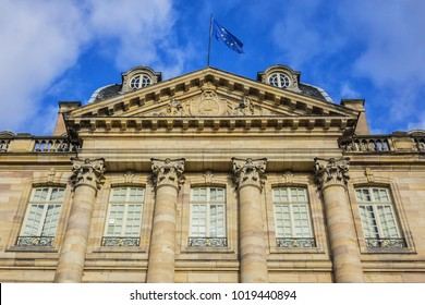 Palais Rohan (Rohan Palace, 1742) in Strasbourg - major architectural, historical and cultural landmark in city. Palais Rohan is former residence of prince-bishops and cardinals. Alsace, France.