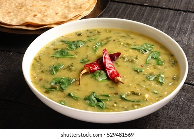 Palak dal with indian bread roti