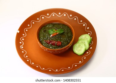 Palak Kofta or Masala Chees with spinach, Indian Food