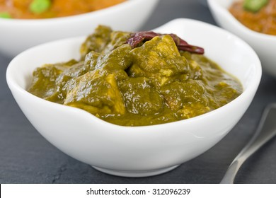 Palak Paneer - Indian cheese cooked in a spicy spinach sauce.