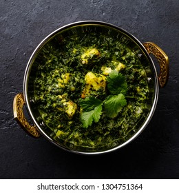 Palak Paneer indian food with cheese and spinach in Kadai dish