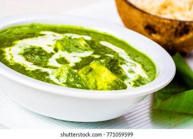 Palak paneer with rice. Indian cuisine