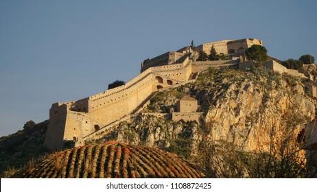 Palamidi Castle in Nafplio Town in Greece.