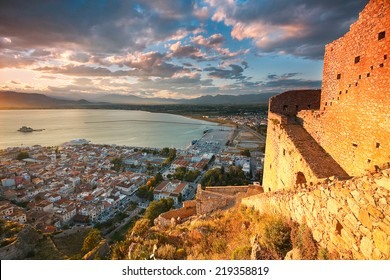 Palamidi castle on a hill above the town of Nafplio, Peloponnese, Greece.