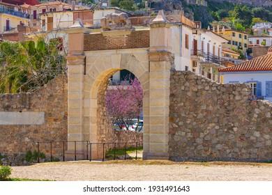 Palamidi fortress castle gate arch in Nafplio or Nafplion, Peloponnese, Greece
