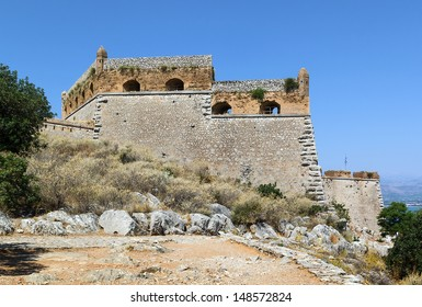 Palamidi is a fortress in the town of Nafplio in the Peloponnese, Greece. Nestled on the crest of a 216-metre high hill, the fortress was built by the Venetians