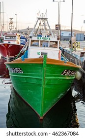 Palamos, Catalonia, Spain, 02 july 2016: Fishing motor boat on the harbor in Palamos bay of Spain