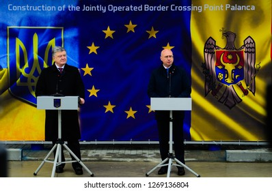 Palanca / Moldova - December 28 2018:  Prime Minister of Moldova Pavel Filip and President of Ukraine Petro  Poroshenko opening a new border crossing point