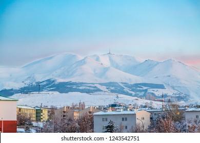 Palandoken mountain from Erzurum city in Erzurum province, Turkey
