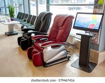 PALANGA AIRPORT, LITHUANIA - 09 FEBRUARY 2017: Massage vibrating leather chairs. Palanga International airport. Lithuania.