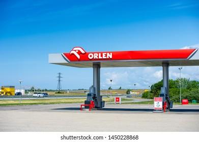 PALANGA - JULY 12, 2019: Orlen petrol station. PKN Orlen is a major Polish oil refiner, and petrol retailer. PKN Orlen headquarters in Plock, Poland.