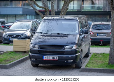 PALANGA, LITHUANIA - APRIL 28, 2018: VW Transporter-Multivan-Caravelle T4 tuning van. The Volkswagen Transporter refers to a series of vans produced over 60 years and marketed worldwide.