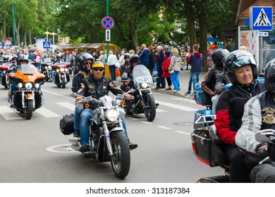 PALANGA, LITHUANIA - AUGUST 02: bikers on motorcycles of the American production participates in American Spirit Rally 2015 on August 02, 2015 in Palanga, Lithuania