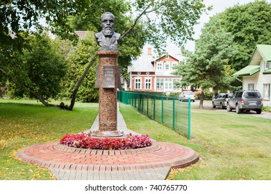 PALANGA, LITHUANIA - August 04, 2017: Monument of active member of the Lithuanian National Revival and first mayor of Palanga Dr.Jonas Sliupas on the grounds of his Memorial Homestead.