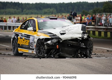 "PALANGA, LITHUANIA - JULY 23: ""SCAENT BALTIC RACING TEAM 2""  team car crash during ""Omnitel 1000 km race"", on July 23, 2011 in Palanga, Lithuania"