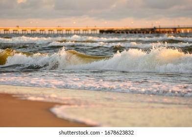 Palanga pier, waves at sea