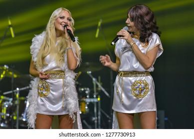 Palanga,Lithuania-December 31,2018:ABBA – Arrival concert in Palanga concert hall.