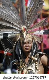 Palangkaraya - May. 19: Portrait of Dayak tribe dancers at the Isen Mulang Festival on May 19.2012, Palangkaraya, Central Kalimantan, Indonesia