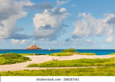 Palapa in deserted beach and turquoise blue caribbean sea - Aruba