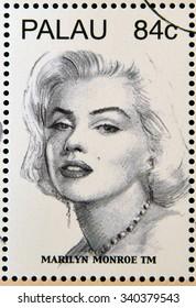 PALAU - CIRCA 2006: Stamp shows Marilyn Monroe