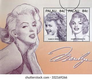 PALAU - CIRCA 2006: Stamps printed in Palau shows Marilyn Monroe, circa 2006