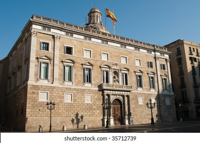 The Palau de la Generalitat de Catalunya on Pla?a de Sant Jaume in Barcelona, Spain.