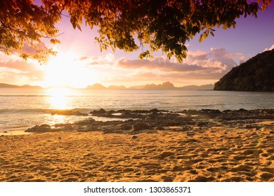 Palawan island sunset - beach landscape in Philippines.