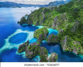 Palawan, Philippines, aerial view of lakes and scenery in Coron island.