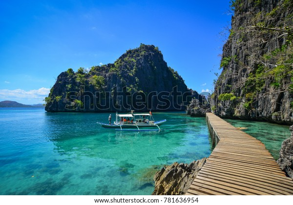 Palawan, Philippines - Apr 11, 2017. A tourist boat on the sea in Palawan, Philippines. Palawan is one of the Philippine Islands top vacation destinations for foreign tourists.
