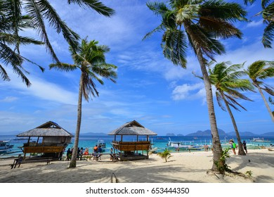 Palawan, Philippines - Apr 5, 2017. Beautiful beach in Palawan, Philippines. Palawan is one of the Philippine Islands top vacation destinations for foreign tourists.