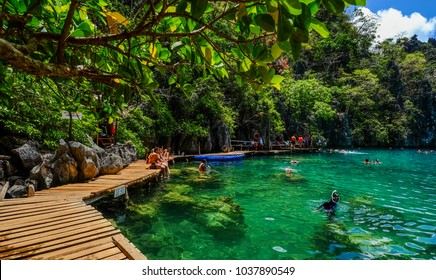 Palawan, Philippines - Apr 9, 2017. People enjoying on Kayangan Lake in Coron Island, Palawan, The Philippines.