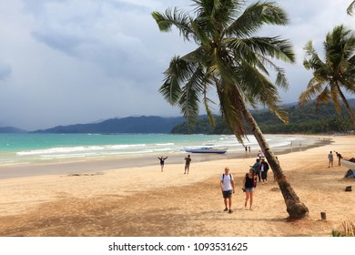 PALAWAN, PHILIPPINES - NOVEMBER 29, 2017: People visit Sabang beach in Palawan, Philippines. 6 million foreign tourists visited Philippines in 2016.