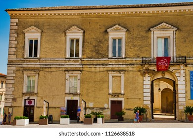 Palazzo D'Avalos in Vasto, Abruzzo, Italy, in june 2018.  Vief of Palace and Civic Museum
