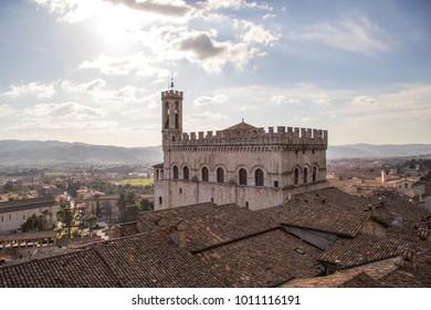 Palazzo dei Consoli and panoramic view, Gubbio