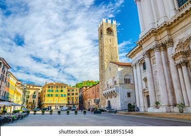 Palazzo del Broletto palace, Cathedral of Santa Maria Assunta, Duomo Nuovo or New Cathedral Roman Catholic church on Piazza Paolo VI Square in Brescia city historical centre, Lombardy, Northern Italy