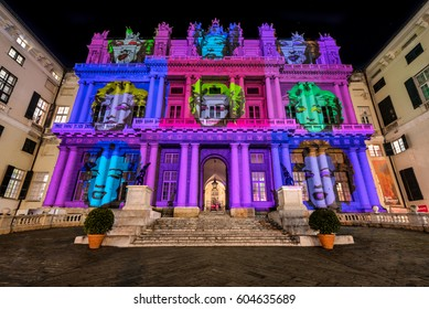 Palazzo Ducale, Genoa 28 December 2016, Light show Warhol tribute